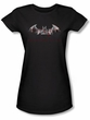 Batman Juniors T-Shirt - Arkham City Bat Fill Black Tee