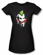 Batman Juniors T-Shirt - Arkham City Joker Spraypaint Smile Black Tee