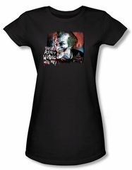 Batman Juniors T-Shirt - Arkham City Plenty Wrong Black Tee