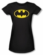 Batman Juniors T-Shirt - Classic Logo Black Tee
