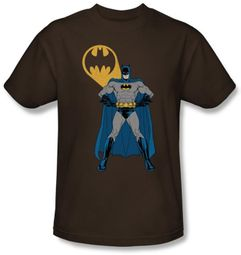 Batman Kids T-Shirt - Arms Akimbo Bats Youth Coffee Brown Tee