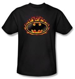 Batman Kids T-Shirt - Bat Flames Shield Youth Black Tee