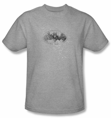 Batman Kids T-Shirt - Burned and Splattered Youth Athletic Heather Tee