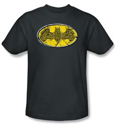 Batman Kids T-Shirt - Celtic Shield Youth Charcoal Gray Tee