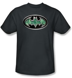 Batman Kids T-Shirt - Circuitry Shield Youth Charcoal Gray Tee