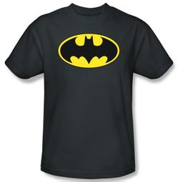 Batman Kids T-Shirt - Classic Bat Logo Youth Charcoal Tee