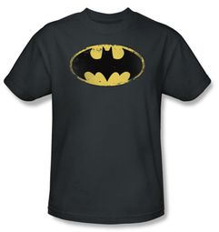 Batman Kids T-Shirt - Distressed Shield Youth Charcoal Tee