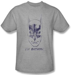 Batman Kids T-Shirt - I'm Batman Youth Athletic Heather Grey Tee