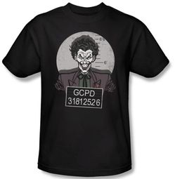 Batman Kids T-Shirt - Joker Busted! Mugshot Youth Black Tee