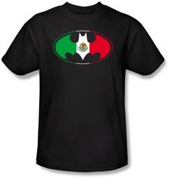 Batman Kids T-Shirt - Mexican Flag Shield Youth Black Tee