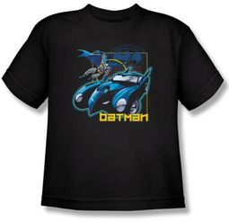 Batman Kids T-Shirt - Nice Wheels Youth Black Tee