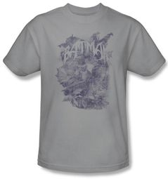 Batman Kids T-Shirt - Pencil Bat Collage Youth Silver Tee