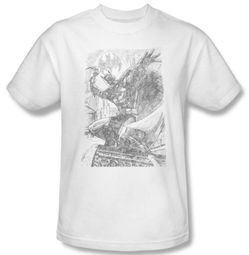 Batman Kids T-Shirt - Pencil Batarang Throw Youth White Tee
