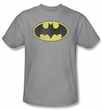 Batman Kids T-Shirt - Retro Bat Logo Distressed Youth Silver Gray Tee