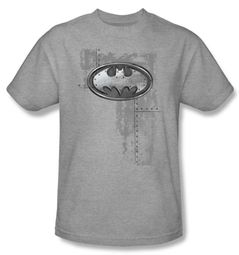 Batman Kids T-Shirt - Riveted Metal Logo Youth Heather Gray Tee