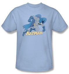 Batman Kids T-Shirt - Running Retro Youth Light Blue Tee