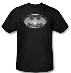 Batman Kids T-Shirt - Steel Wall Shield Youth Black Tee