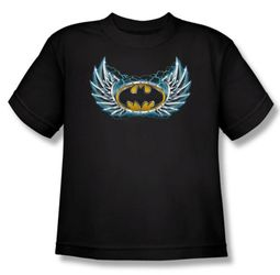 Batman Kids T-Shirt - Steel Wings Logo Youth Black Tee