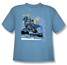Batman Kids T-Shirt - Two Gotham Gargoyles Youth Blue Tee