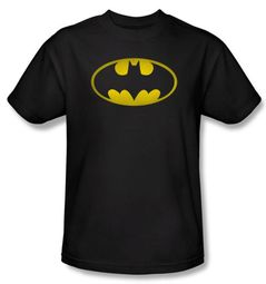 Batman Kids T-Shirt - Washed Bat Logo Youth Black Tee