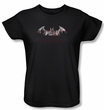 Batman Ladies T-Shirt - Arkham City Bat Fill Black Tee