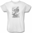 Batman Ladies T-Shirt - Pencil Batarang Throw White Tee