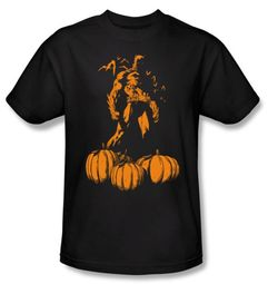 Batman T-Shirt - A Bat Among Pumpkins Adult Black Tee