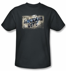 Batman T-Shirt - Arkham City Greetings From Arkham Adult Charcoal Tee