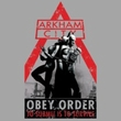 Batman T-Shirt - Arkham City Obey Order Adult Silver Tee