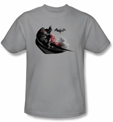 Batman T-Shirt - Arkham City Ready To Pounce Adult Silver Tee