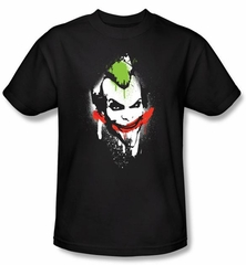 Batman T-Shirt - Arkham Joker Spraypaint Smile Adult Black Tee