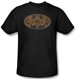 Batman T-Shirt - Aztec Bat Logo Adult Black Tee