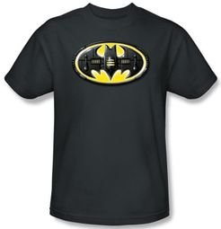 Batman T-Shirt - Bat Mech Logo Adult Charcoal Grey Tee