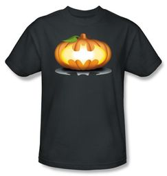 Batman T-Shirt - Bat Pumpkin Logo Adult Charcoal Tee