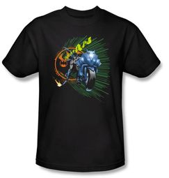 Batman T-Shirt - Batcycle Adult Black Tee