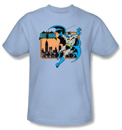 Batman T-Shirt - Batman In The City Adult Light Blue Tee