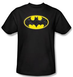 Batman T-Shirt - Bats In Logo Adult Black Tee