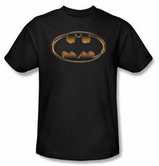 Batman T-Shirt - Black and Gold Embossed Shield Adult Black Tee