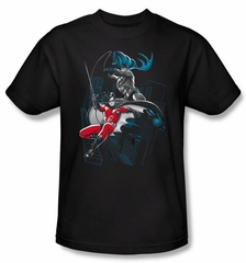 Batman T-Shirt - Black and White Adult Black Tee
