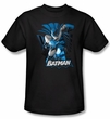 Batman T-Shirt - Blue and Gray Adult Black Tee