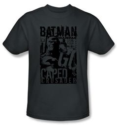 Batman T-Shirt - Caped Crusader Adult Charcoal Gray Tee