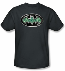 Batman T-Shirt - Circuitry Shield Adult Charcoal Grey Tee