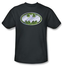 Batman T-Shirt - Circuits Logo Adult Charcoal Gray Tee