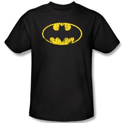 Batman T-Shirt - Classic Logo Distressed Adult Black Tee