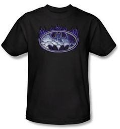 Batman T-Shirt - Cracked Shield Adult Black Tee