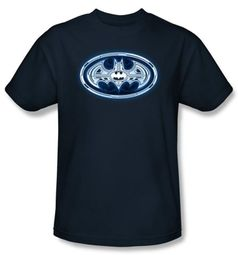 Batman T-Shirt - Cyber Bat Shield Adult Navy Blue Tee