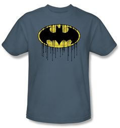 Batman T-Shirt - Dripping Brick Wall Shield Adult Slate Blue Tee