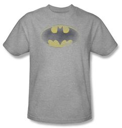 Batman T-Shirt - Faded Logo Adult Heather Grey Tee