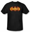 Batman T-Shirt - Fiery Shield Adult Black Tee