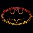 Batman T-Shirt - Flame Outlined Logo Adult Black Tee